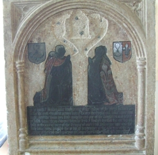 Brass at Cople of the granddaughter of John Launcelyn who was nurse to Henry VIII